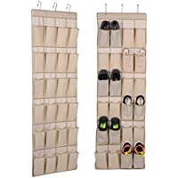 Hanging靴ラッククローゼット整理 – をドアの靴オーガナイザー24強化ポケットと3とカスタマイズされた強力なメタルフック – 不織布ドアOrganizer forランドリールーム、キッチン、バスルームオーガナイザー