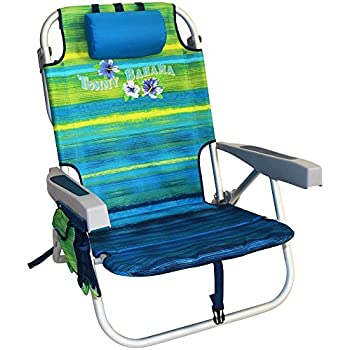 2 Tommy Bahama Backpack Cooler Chair with Storage Pouch and Towel Bar Blue