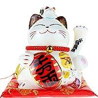 開運招き猫 千万両 開店祝い 開業プレゼント 貯金箱 招き猫置物 (高さ20×長さ20×幅15cm) 8センチ