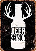 ブリキ看板ビールシーズン(黒背景)グッズウォールアート