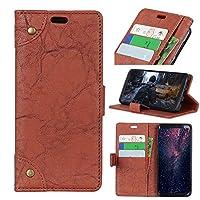 、レトロ牛革テクスチャレザー磁気スマートフォン耐震Kikstandケースは、iPhone Xrを6.1インチ2018用のカードスロットとiPhoneのXRウォレットケース用カバー ypxpv5649 (Color : Brown)