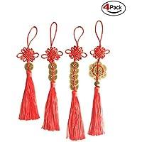 com-life本物ChineseレッドEndless Knot Feng Shuiお金コイン製品for Wealth保護と成功-- 4pcs