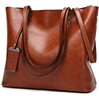 Tote Handbag for Women Vegan Leather Shoulder Bag Hobo bag Satchel Purse for Girls School Work & Shopping (Brown PU)