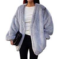 ZLSLZ Womens Winter Faux Fur Oversize Boyfriend Loose Leopard Outerwear Coat Jackets