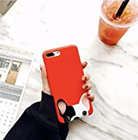 Newest Cute French Bulldog Soft Case for iPhone 7 Red [並行輸入品]