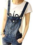 【SEBLES】人気のオーバーオールで原宿系お洒落女子に デニム ジーンズ ショートパンツ ダメージ ブルー L