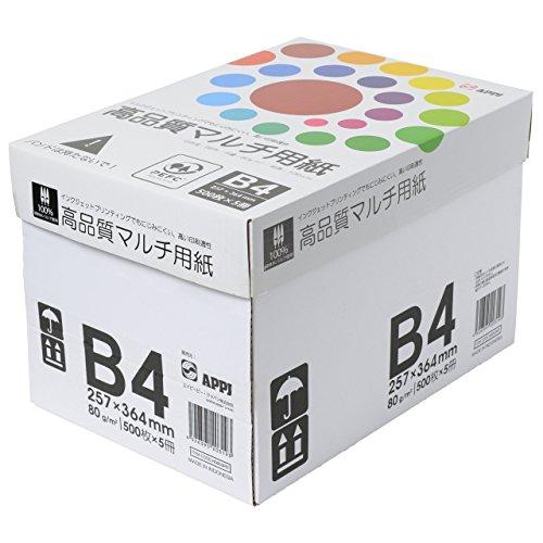 コピー用紙 B4 高品質マルチ用紙 白色度98% 紙厚0.106mm 2500枚(500×5) インクジェット用紙