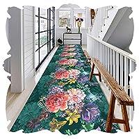 YANGJUN 廊下敷きカーペット ラグ ランナー 洗える イージーケア 柔らかい 滑り止め 印刷 フラワーズ 立体視 写実的な カッタブル カスタマイズ可能 (色 : A, サイズ さいず : 1.6x6.5m)