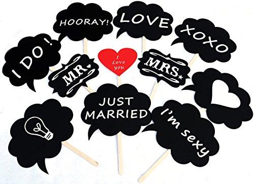 【ノーブランド品】吹き出しフォトプロップス11点セット(HAPPY PROPS)結婚式・二次会・誕生日会写真小道具※スティック装着済み