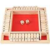 Acogedor テーブルゲーム 知育玩具 木製 デジタルゲーム ふるいを振る 面白い四人のゲーム レッド