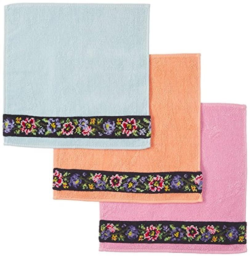 つま先表示トラップシェニール織り タオルハンカチ 3色組
