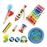 (15PCS) - Bibnice Kids Toys Musical Instruments Backpack Include Xylophone Harmonica Bells Maracas Percussion Toys, Early Education Learning Toys for Toddler, Baby and Preschool Children -15 PCS