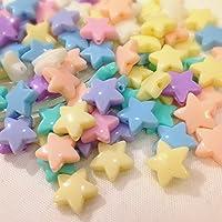 ラムネみたいなお星さまビーズ14mm 約20個 アソートカラーミックス アクセサリーパーツ ハンドメイド 手芸材料