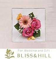 Bliss&Hill  グラスフラワー ジュエルオブロゼ Mサイズ【JM-G】 ガーベラ(ピンク)・バラ(ピンク)・ミニバラ(ピンク)・かすみ草 W20.0  H20.0  D11.0cm 【日本製】