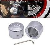 TUINCYNクロムオートバイフロントアクスルカバーキャップナットモーターバイクアルミデコレーションユニバーサルハーレーハーレーXL883 XL1200 X48 Softail Dyna V-ロッドツーリングツアー(1ペア)