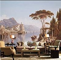 Weaeo ヨーロッパスタイルの街景観すべての絵画3D写真の壁紙リビングルームテレビ装飾壁不織防水壁画-350X250Cm