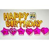ミニオン アルミバルーン 40cm 誕生日 お祝い イベント HAPPY BIRTHIDAY ハート 星 40cm,ピンク 40cm,ピンク 40cm,ピンク