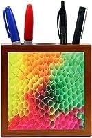 Rikki Knight Colorful Straws Design Design Inch Tile Wooden Tile Pen Holder [並行輸入品]