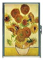 Vincent Van Goghひまわり花瓶ステンレススチールIDまたはCigarettesケース( Kingサイズまたは100mm )