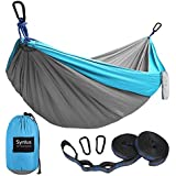 Syntus Camping Hammock Portable Indoor Outdoor Tree Hammock with 2 Hanging Straps, Lightweight Nylon Parachute Hammocks for Backpacking, Travel, Beach, Backyard, Hiking