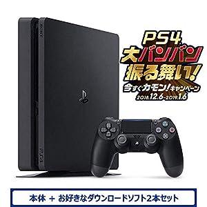 PlayStation 4 ジェット・ブラック 500GB (CUH-2200AB01) お好きなダウンロードソフト2本セット(配信)