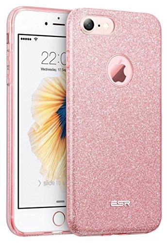 iPhone7ケース アイフォン7ケース,ESRRシリコン TPUソフト おしゃれ ケース バンパー 耐衝撃 キラキラ iPhone7 カバー (ローズゴールド)