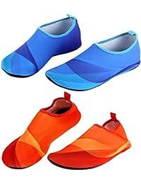 yuyugo 1ペアユニセックス軽量夏ノンスリップAquaビーチ靴ダイビングソックスアウトドアプール水スポーツ靴水泳フィンM - 3 X L ブルー