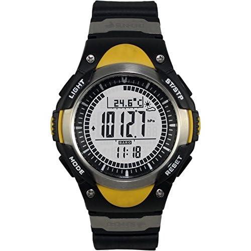 スポーツ腕時計 黄色 高度/気圧/温度/天気 アウトドア 登山 マラソン スポーツ時計