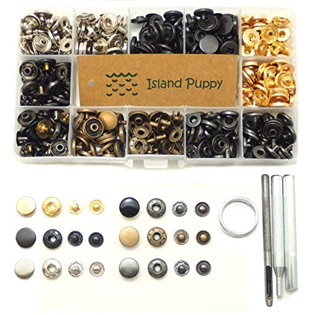 わかりやすい許されるテザー[アイランドパピー] 6色 バネ ホック セット 打ち具 付き レザークラフト ボタン 手芸 DIY 工具 (12mm)