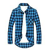 [necker] カジュアル シャツ ブロック チェック ネルシャツ アメカジ (L, 黒 水色)