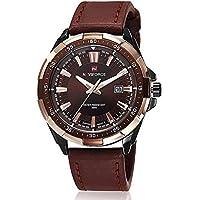 腕時計メンズ Zeiger アナログ表示 クォーツムーブメント 本革バンド メンズウォッチ 日常生活防水 男性用 ビジネス ファッション 上品 通勤 宴会 平日 時計 (ブラウン)
