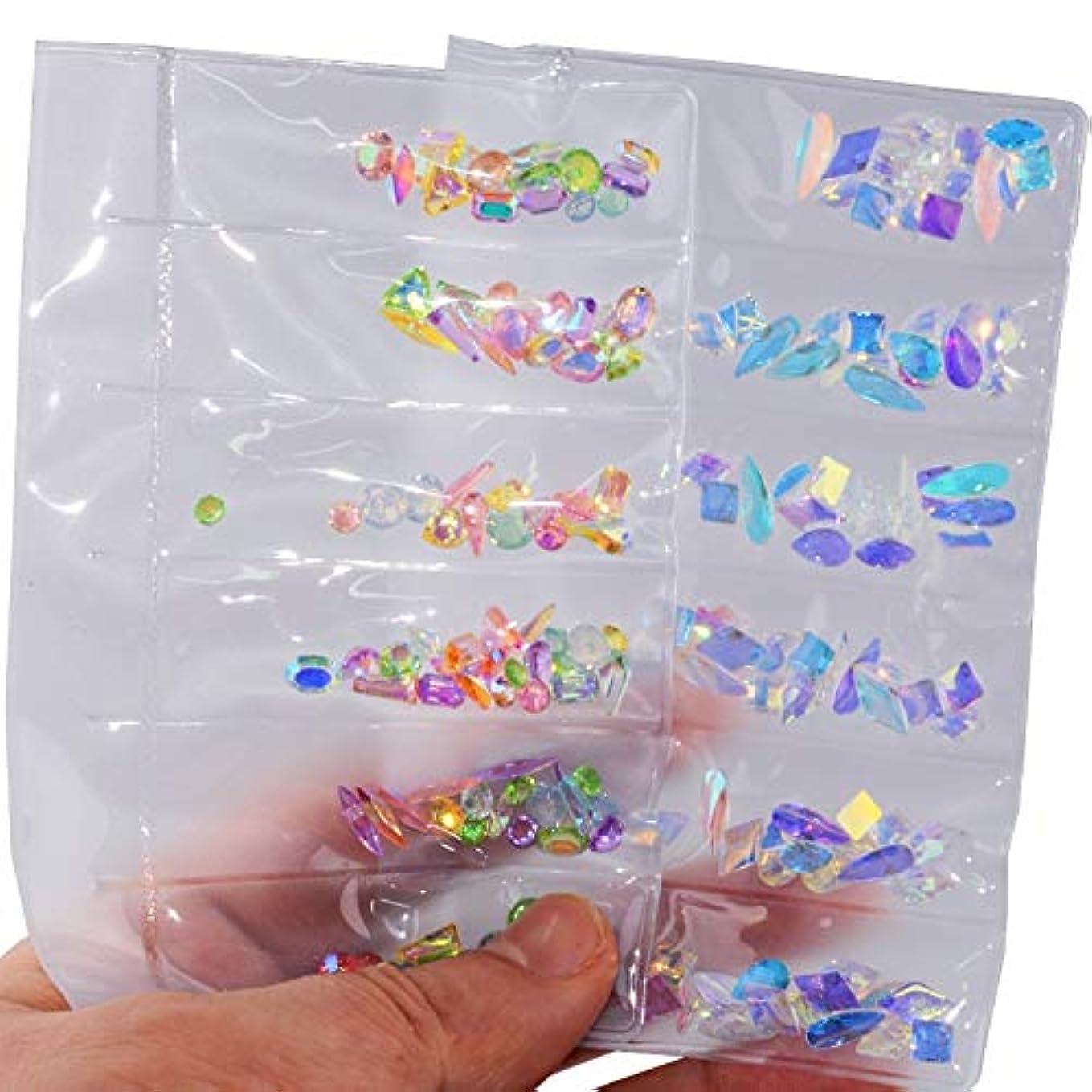 文法愛撫苦難2パックセットネイルアートラインストーンネイルアートデコレーションフラットバックガラスダイヤモンドティアドロップ馬の目の水晶石