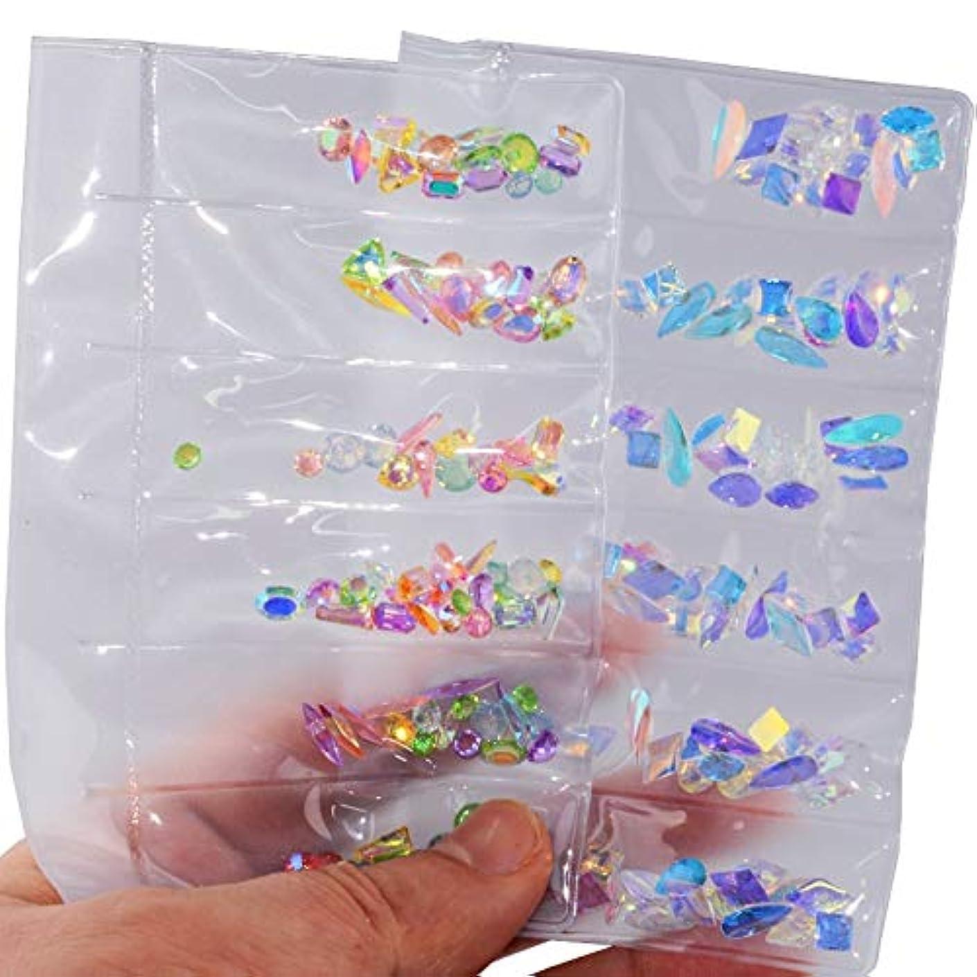 桁項目輝く2パックセットネイルアートラインストーンネイルアートデコレーションフラットバックガラスダイヤモンドティアドロップ馬の目の水晶石