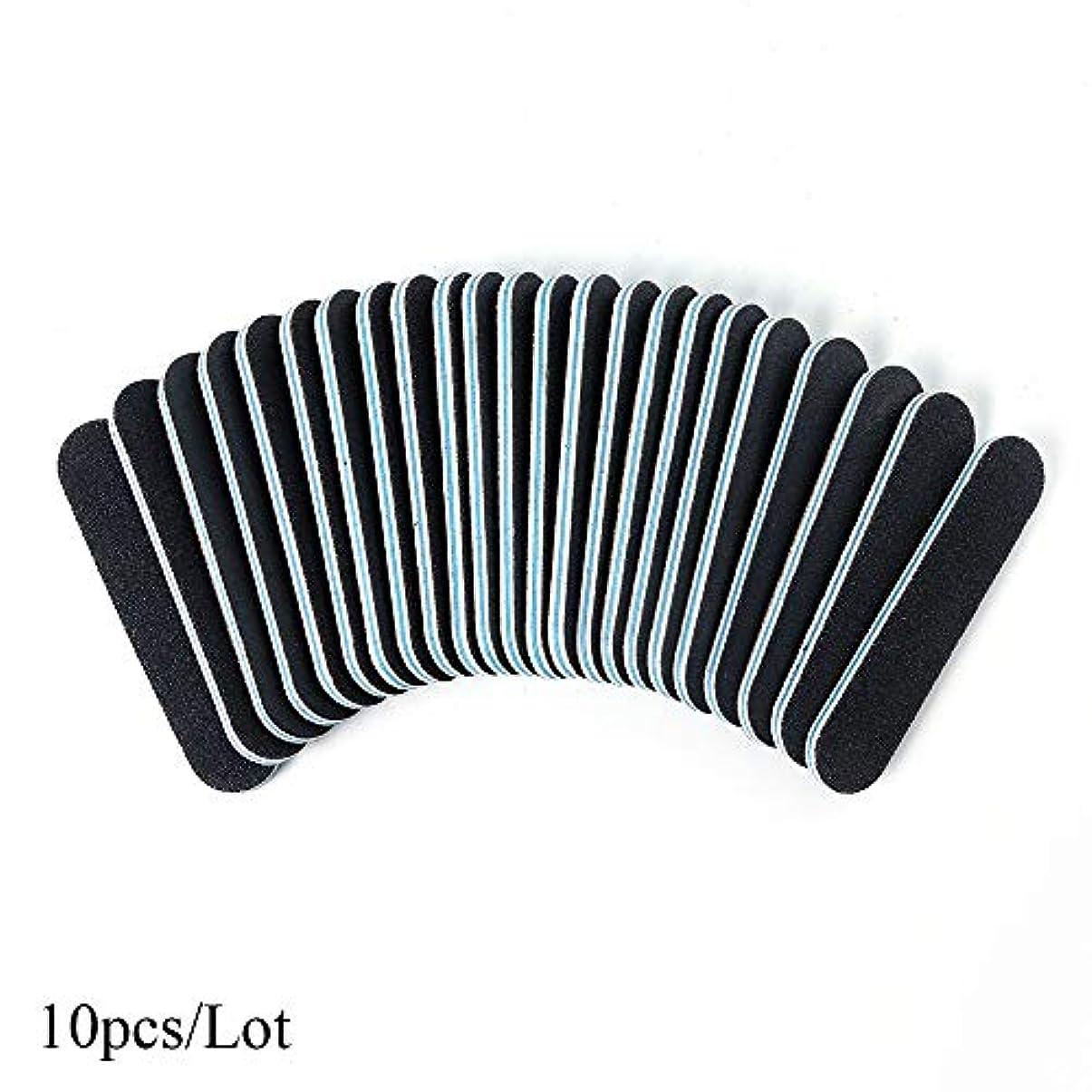 10ピース/ロット両面ネイルファイル黒スリムバッファブロックサンディングスポンジポリッシャーサンドペーパーマニキュアアートツールアクセサリーSAA32ブルー