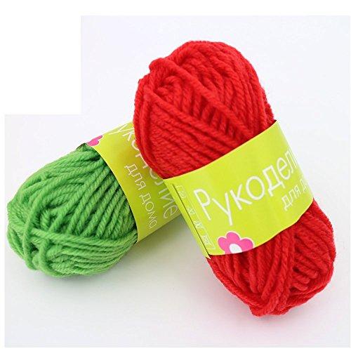 Otrue アクリル毛糸 並太 ホビーメイク かぎ針付き 手編み ホームメイド ランダム12色/玉セット プレゼント
