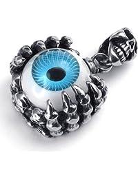 [テメゴ ジュエリー]TEMEGO Jewelry メンズステンレススチールヴィンテージペンダントゴシックスカルドラゴンクロー悪魔アイネックレス、黒青シルバー[インポート]
