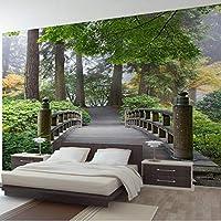 Wuyyii カスタム3D壁画立体ブリッジ森の緑の風景絵画壁写真デ-250×175 Cm