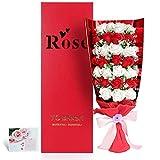 Yobansa  造花 石鹸の花 花束 ソープ フラワー 大切な人 へ 感謝 の 気持ち を 伝える 花束 ( 母の日 ・ バレンタイン ・ ホワイトデー ・ 入学 ・ 卒業 ・ 誕生日 ・ 結婚記念日 など 様々な お祝い の シーン に 最適, 33 本 (赤と白)