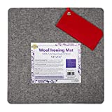 """Ecoigy 14"""" x 14"""" Wool Ironing Pad, 1/2"""" Thick Wool Pressing Mat for Quilting, 100% New Zealand Wool Quilting Mat, Quilting Supplies and Notions, Best Ironing Mat with a Bonus Eyeglasses Case"""