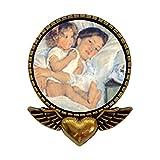 古代のスタイル金メッキメアリー・カサットのベッドの朝食の天使の翼とハートピンブローチ