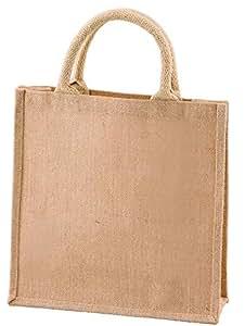 ベーシックスタンダード 天然素材 ジュート 麻 無地 バッグ 手提げ トートバッグ M (A4入る 便利サイズ。自立する。) 151001