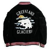 Houston ヒューストン スカジャン 別珍 ベロア スーベニアジャケット 白熊 シロクマ 犬ぞり Black ブラック Mサイズ