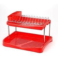 DD シューズホルダー マルチカラー二階建て台所排水皿カトラリー収納ラック 木製ラック (色 : Red)