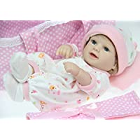 値スポーツNPKDOLL Mini LovelyソフトSiliconeビニールLifelike Realistic Rebornベビーガール人形with Cradle娘ギフトWeighted Baby 11インチ( 28 cm )ピンク
