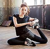 ヨガウェア 半袖 上下セット ショートパンツ付き ダンス/体操/ ランニング フィットネス ( ブラック, M)