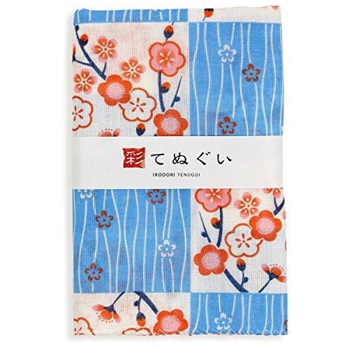 彩(irodori) ガーゼ手ぬぐい よろけ縞に梅 ブルー 青 日本製 てぬぐい 二重袷 二重ガーゼ ほつれ防止加工 約33×88cm