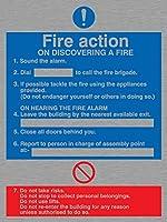 バイキングサインMF325-A5P-MS「火災発見時の火災対応」サイン、ステンレススチール、マリングレード、200 mm H x 150 mm W