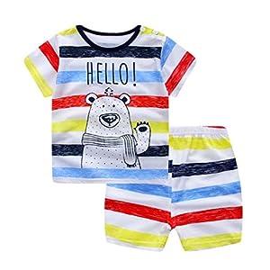 LZROL 子供服 パジャマ キッズ ベビー 綿100% 半袖 Tシャツ 上下セット 寝間着  ルームウェア ショートパンツ  春夏