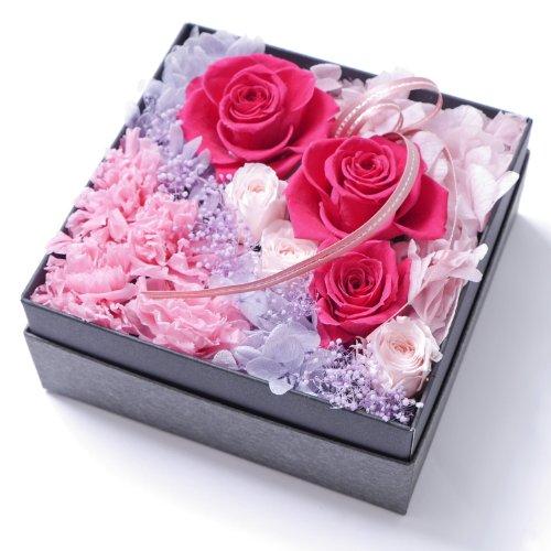 プリザーブドフラワー・BOXアレンジメント・スクエアー・ピンク×パープル【プリザーブドフラワー・誕生日・記念日・御祝・母の日など】