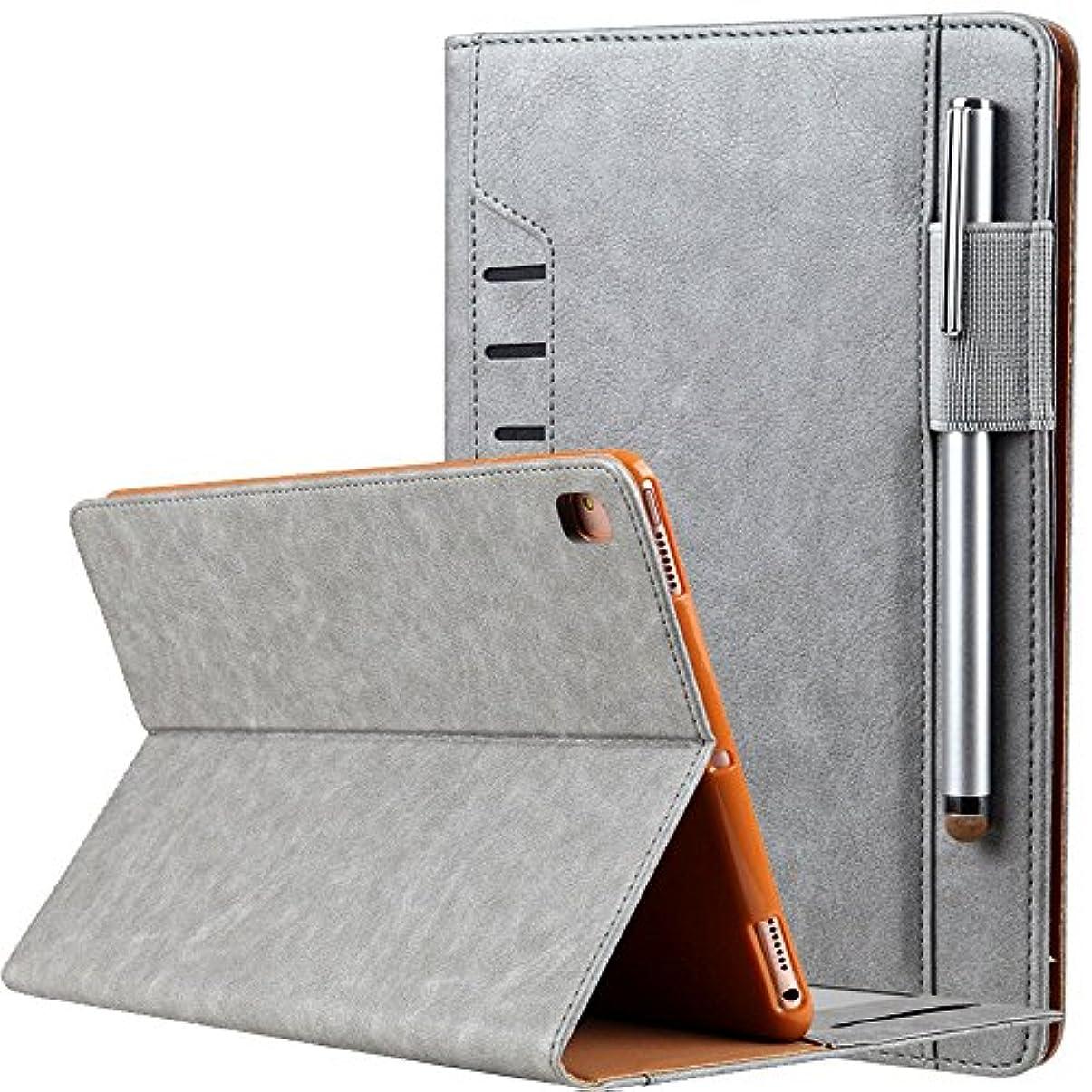 ジュラシックパーク熟練した安息businda iPadケース – プレミアムPUレザーケーススマート自動ウェイク/スリープカバーwith Hand Strap ,カードスロットfor Ipad Mini 1234 グレー